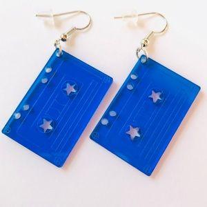 Jewelry - 💙📼Bright Blue Cassette Tape Earrings 📼💙